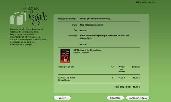 Comprobación regalo iTunes Store
