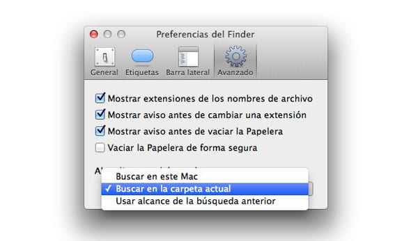 Preferencias de búsqueda Finder
