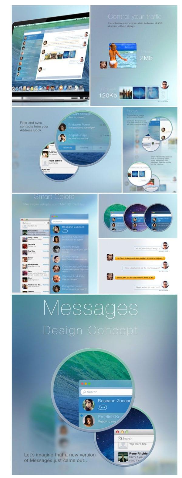 concepto mensajes os x Este concepto da algunas buenas ideas para una, necesaria, renovación de la aplicación Mensajes de OS X