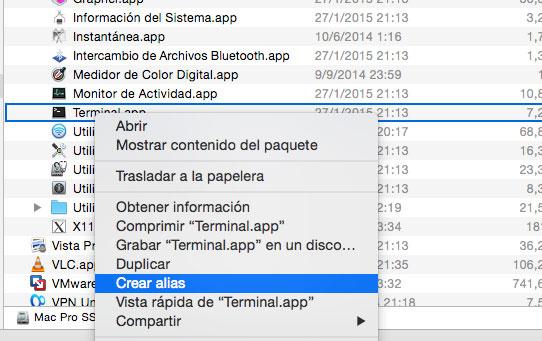 Crear Acceso Directo en Mac OS X