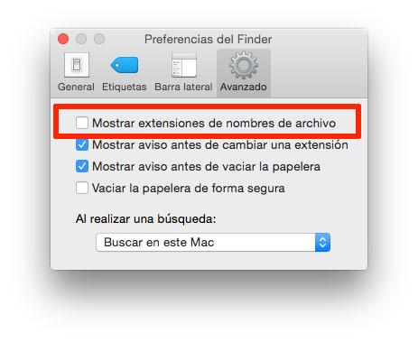 Mostrar extensiones de archivos en Finder