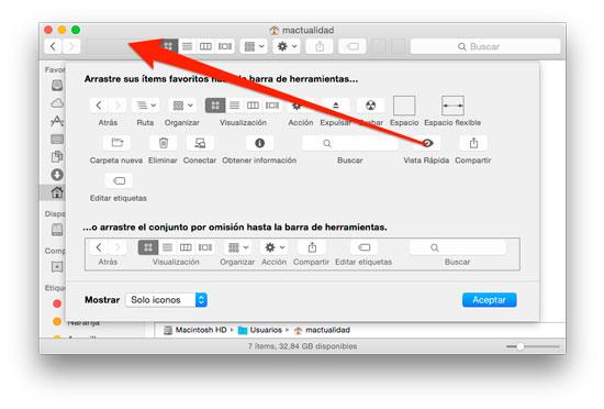 Personalizar barra herramientas Finder