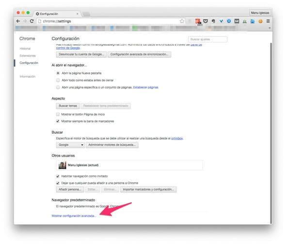 Mostrar configuración avanzada en Chrome