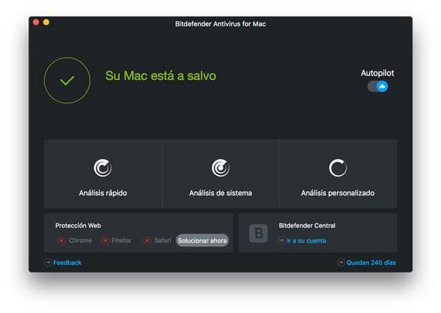 Interfaz de Bitdefender para Mac