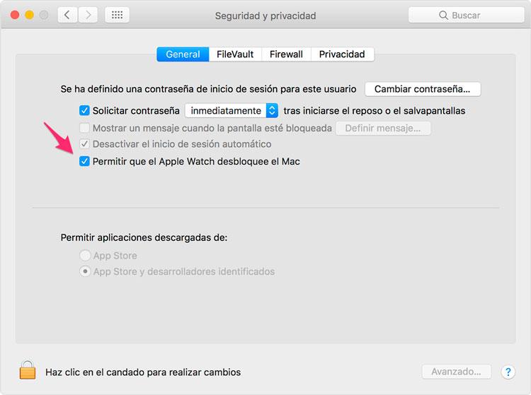 Desbloquear Mac con el Apple Watch