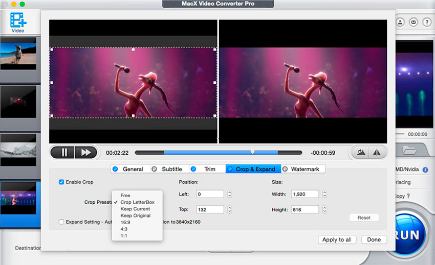 Edición de vídeo con MacX Video Converter Pro