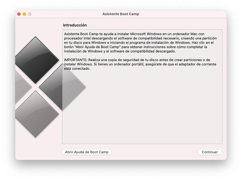 Asistente Boot Camp para instalar Windows en Mac